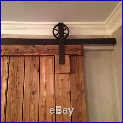 5-12FT Vintage Strap SUPER BIG Wheel Sliding Barn Wood Door Hardware Track Kit