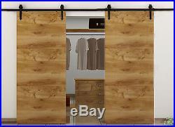 5-12FT Wood Sliding Barn Door Hardware Closet Kit for Single/Double/Bypass Doors