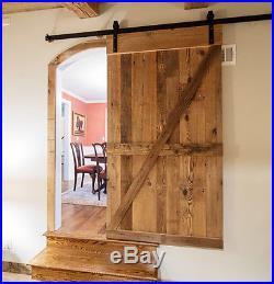 5-16FT Antique Single Sliding Barn Door Hardware Kit Closet J Style Bending