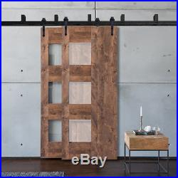 5-16FT Arrow Black Bypass Sliding Barn Door Hardware Kit Brackets Wall mount