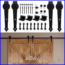 5-16FT Arrow Sliding Barn Double Door Hardware Track Kit Wall Mount Hanger Patio