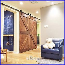 5-16FT Basic Sliding Barn Double Door Hardware Track Kit Closet j Style Garage