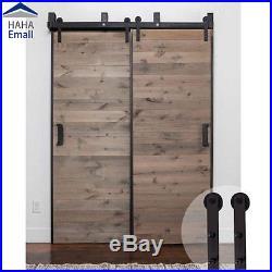 5-16FT New Bypass Sliding Barn Door Hardware Track Kit Simple I-Shape Hanger Set