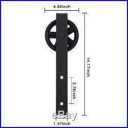 5-16FT Strap Bypassing Sliding Barn Door Hardware Track Kit Wheel Double Spoke