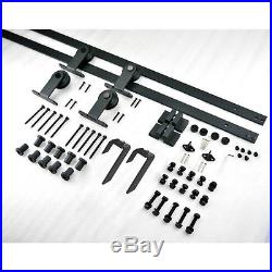 5-16FT Vintage Bypass Sliding Barn Door Hardware Track Kit Hanger Bracket Roller
