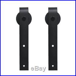 5-18FT J style Single Sliding Barn Door Hardware Flat Track Kit Closet Black
