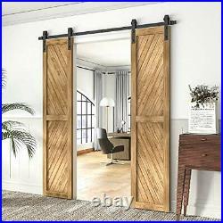5-18FT Sliding Barn Wood Door Hardware 5FT/60inch J Shape Hanger Two Doors Kit