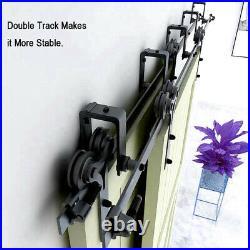 5-20FT Bypass Sliding Barn Door Hardware Kit for Double Door Sheep Horn Roller