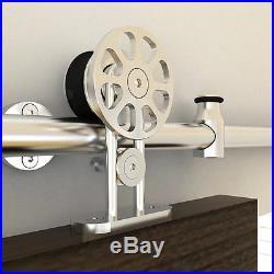 5.5FT Spoke wheel stainless steel top mount sliding barn door hardware