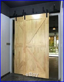 5.5ft Bypass Sliding Barn Wood Door Hardware Interior Sliding Door Black Rustic