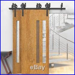 5/6/8/10FT Bypass Brackets Spoke Wheel Sliding Barn Wood Door Hardware Track Kit