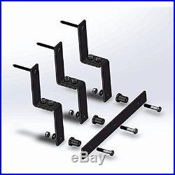 5/6/8/10 FT Bypass Sliding Barn Door Hardware Kit Closet Black Steel Double