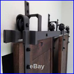 5-8FT bypass barn door hardware wall mount bypass sliding door track roller kit