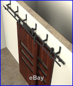 5-8FT bypass barn door hardware wall mount bypass sliding door track set kit