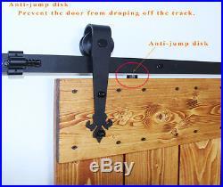 5ft-20ft Wood Sliding Barn Door Hardware Kit Rail J Roller Hanger Double Doors