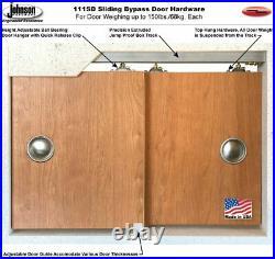 60 x 84 Sliding Closet Bypass Doors with Rail Hardware Quadro 4111 White Ash