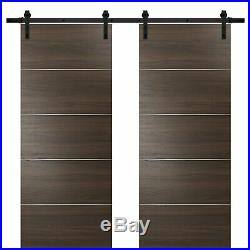 60 x 96 Sliding Double Barn Doors with Hardware Planum 0020 Chocolate Ash