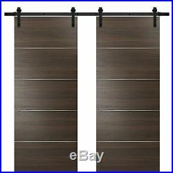 64 x 80 Sliding Double Barn Doors with Hardware Planum 0020 Chocolate Ash