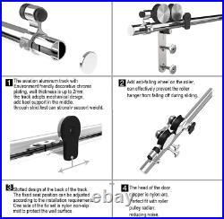 6FT/182cm Stainless Steel Sliding Barn Single Door Hardware Closet Track Kit for