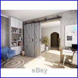 6FT DIY Bypass Sliding Barn Double Door Hardware Track Kit Closet Bedroom i