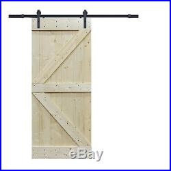 6FT Frosted Black Sliding Door Hardware withUnfinished Pine Interior DIY Barn Door