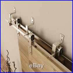 6FT Modern Bypass Sliding Barn Door Hardware Track Kit Stainless Steel Overlap