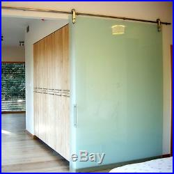 6FT Modern European Stainless Steel Glass Sliding Barn Door Hardware Track Set