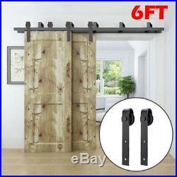 6FT Rustic BypassSteel Sliding Barn Wood Double Doors Rollers Hardware Track Kit