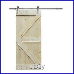 6FT Stainless Steel Sliding Door Hardware withUnfinished Interior DIY Barn Door