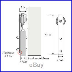 6-11.5 FT Rustic Rails Set Wood Sliding Barn Door Hardware Kit for Double Door