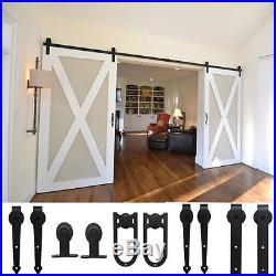 6-12ft Classic Sliding Door Hardware Antique Barn Door Rollers Wood Track Kit OY