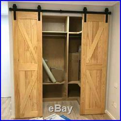6 16ft Rustic Sliding Barn Door Hardware Flat Track Kit J Style Closet Cloakroom