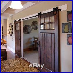 6-16FT U shape Sliding Barn Double Door Hardware Track kit Hanger Rail Brackets