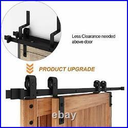 6.6FT Bypass Double Sliding Barn Door Hardware Kit, Single Track Fit 6.6FT