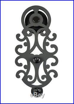 6.6FT Bypass Sliding Barn Door Hardware Track Kit Bracket Flower Style Black