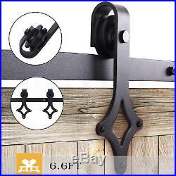 6.6FT Country Barn Wood Steel Sliding Door Closet Track Hardware Kit Black New