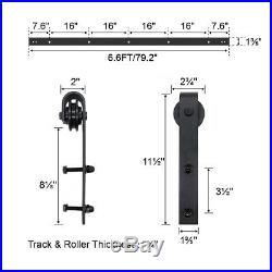 6.6FT DIY Bypass Sliding Barn Door Hardware Track Kit Closet Double Overlap Rail
