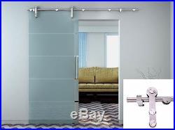 6.6FT Modern European Stainless Steel Glass Sliding Barn Door Hardware Track Set