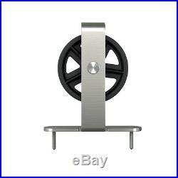 6.6FT Satin Nickel Sliding Barn Door Hardware Roller Track Rail Kit