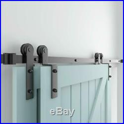 6.6FT Single Track Bypass Sliding Barn Door Hardware Kit For 2 Doors Low Ceiling