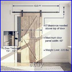 6.6FT Sliding Barn Door Hardware Whole Kit Include 6.6ft Track Kit & 6.6 Feet