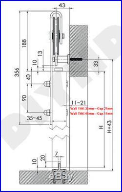 6.6FT Sliding barn door hardware spoke wheel two side soft close track