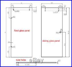 6.6FT Sliding barn shower door twin roller frameless sliding track hardware kit