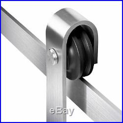 6.6FT Stainless Steel Modern Interior Wood Sliding Barn Door Hardware Track Set