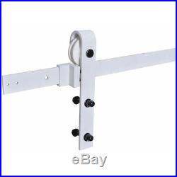 6.6FT White Sliding Door Hardware Set withUnfinished Pine Interior Barn Door
