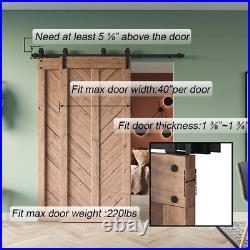 6.6Ft Bypass Heavy Duty Sturdy Sliding Barn Door Hardware Kit Double 6.6 Feet
