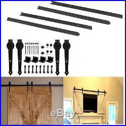 6.6/13.2ft Single&Double Sliding Barn Door Roller Hardware Track Kit Hanger B5M9