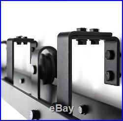 6/6.6/8FT Steel Double Sliding Barn Wood Door Rollers Hardware Track Kit Closet
