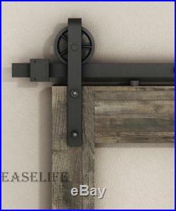 6/6.6/8/10/12FTVintage Big Wheel Industrial Sliding Barn Door Hardware Track Kit