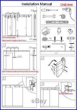 6/6.6/8ft ceiling mount sliding barn door hardware rustic black ceiling bracket